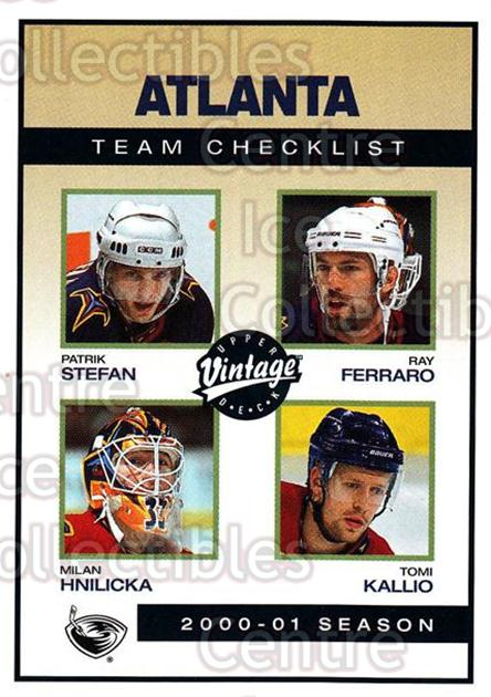 2001-02 UD Vintage #17 Patrik Stefan, Milan Hnilicka, Ray Ferraro, Tomi Kallio, Checklist<br/>5 In Stock - $1.00 each - <a href=https://centericecollectibles.foxycart.com/cart?name=2001-02%20UD%20Vintage%20%2317%20Patrik%20Stefan,%20...&quantity_max=5&price=$1.00&code=99773 class=foxycart> Buy it now! </a>
