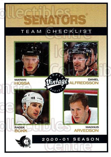 2001-02 UD Vintage #182 Marian Hossa, Radek Bonk, Daniel Alfredsson, Magnus Arvedson, Checklist<br/>9 In Stock - $1.00 each - <a href=https://centericecollectibles.foxycart.com/cart?name=2001-02%20UD%20Vintage%20%23182%20Marian%20Hossa,%20R...&quantity_max=9&price=$1.00&code=99786 class=foxycart> Buy it now! </a>