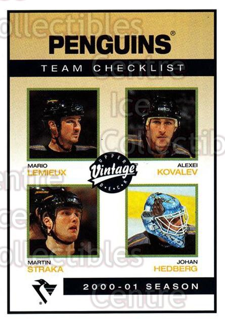 2001-02 UD Vintage #208 Mario Lemieux, Martin Straka, Alexei Kovalev, Johan Hedberg, Checklist<br/>2 In Stock - $2.00 each - <a href=https://centericecollectibles.foxycart.com/cart?name=2001-02%20UD%20Vintage%20%23208%20Mario%20Lemieux,%20...&quantity_max=2&price=$2.00&code=99814 class=foxycart> Buy it now! </a>