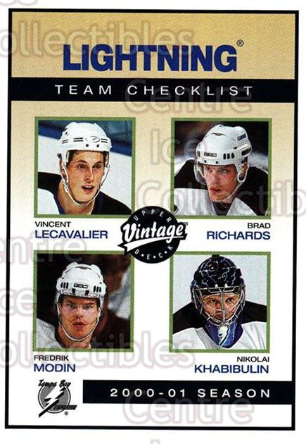 2001-02 UD Vintage #234 Vincent Lecavalier, Fredrik Modin, Brad Richards, Nikolai Khabibulin, Checklist<br/>2 In Stock - $1.00 each - <a href=https://centericecollectibles.foxycart.com/cart?name=2001-02%20UD%20Vintage%20%23234%20Vincent%20Lecaval...&quantity_max=2&price=$1.00&code=99843 class=foxycart> Buy it now! </a>